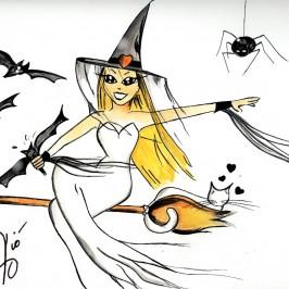 "Illustrazioni Halloween "" La Strega """